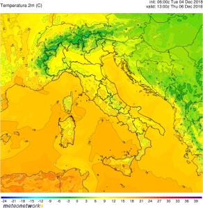 Clima mite alle ultime battute: saranno giorni con caldo fuori stagione prima dell'inverno! - Temperature massime di giovedì. Fonte: meteonetwork