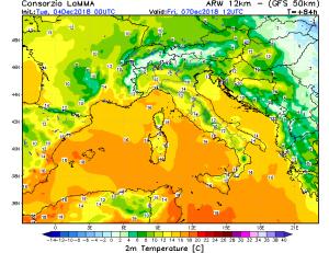 Clima mite alle ultime battute: saranno giorni con caldo fuori stagione prima dell'inverno! - Temperature massime di venerdì. Fonte: lamma