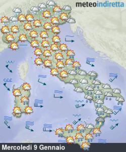 Nuova irruzione Artica in arrivo in settimana: da mercoledì maltempo con neve e freddo! - Perturbazione e freddo in arrivo. Fonte: meteoindiretta