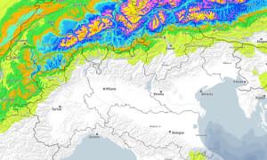 Freddo e maltempo, ma sulle Alpi italiane la neve dov'è? - Pochissima neve prevista sulle Alpi. Fonte: bergfex