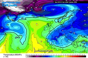 Nuova irruzione Artica in arrivo in settimana: da mercoledì maltempo con neve e freddo! - Ondata di freddo prevista a metà settimana. Fonte: meteociel
