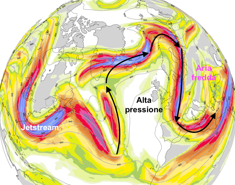 Previsione del modello ICON riguardo ai venti a circa 10 km di altitudine