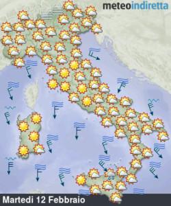 Italia divisa tra alta pressione e venti freddi in settimana: tutte le news qui! - Tempo previsto martedì 12. Fonte: meteoindiretta