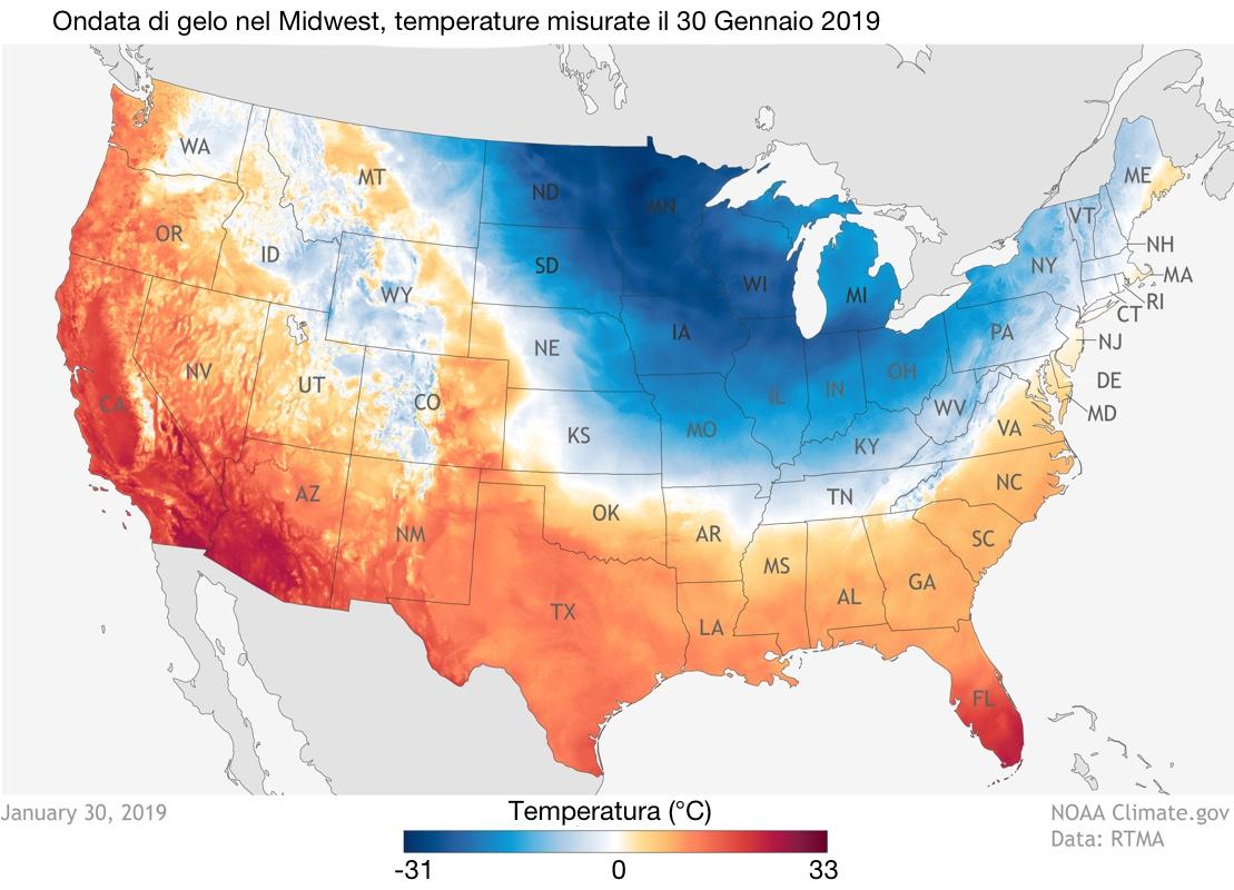 Temperature misurate il 30 gennaio 2019 negli Stati Uniti