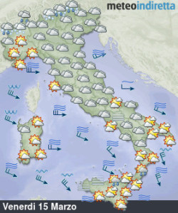 Arriva il weekend con nubi, sole e piogge sparse: tutti i dettagli qui! - Weekend tra sole e qualche pioggia. Fonte: meteoindiretta