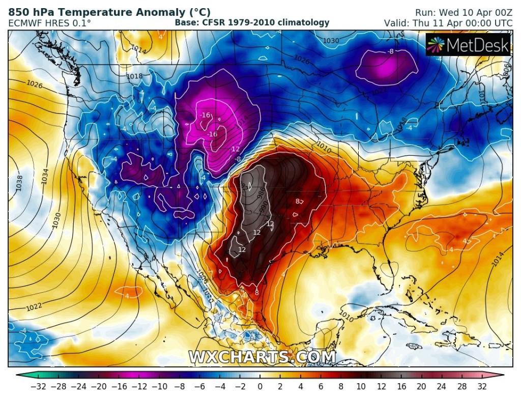 Anomalia di temperatura per la giornata di oggi, 11 aprile. Fonte : WXCHARTS