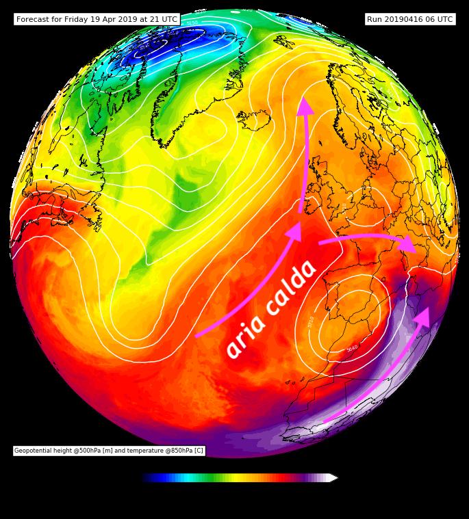 Altezza di geopotenziale a 500 hPa e  temperatura a 850 hPa previste per venerdì