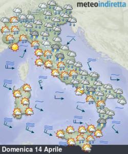 Weekend delle Palme instabile e più fresco: il maltempo fatica ad andar via! - Piogge insistenti sull'Italia.Fonte: meteoindiretta