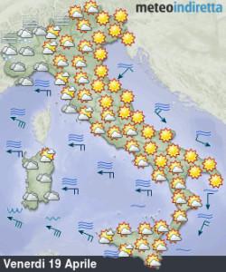 Lungo weekend pasquale inizia bene con sole e caldo, ma resisterà fino a Pasquetta? - Tempo soleggiato ad inizio weekend. Fonte: meteoindiretta