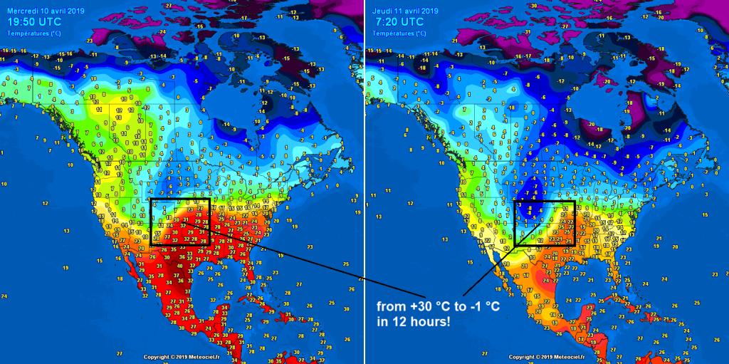 Mappa che mostra la variazione di temepratura tra il 10 e l'11 aprile a poche ore di distanza. FONTE: METEOCIEL