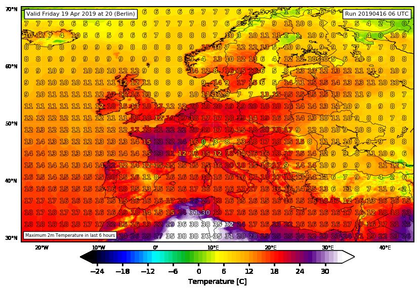 Temperature massime previste per venerdì 19 aprile