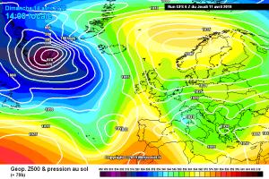 Weekend delle Palme instabile e più fresco: il maltempo fatica ad andar via! - Formazione continua di minimi nel weekend. Fonte: meteociel